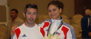 Lionel Plumenail (entraîneur national) et Ysaora, médaillée de bronze © FFE