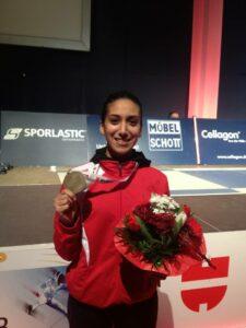 Premier podium d'Ines en Coupe du monde senior